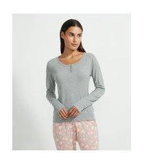 blusa de pijama manga longa em ribana com botões na gola | lov | cinza | gg