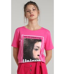 "blusa feminina ""be unique"" manga curta decote redondo rosa"