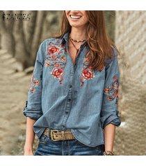 zanzea mujeres denim blue casual flor de ganchillo tapas de la camisa floja gira el collar abajo de la blusa -azul claro