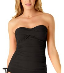 anne cole twist-front ruched tankini top women's swimsuit