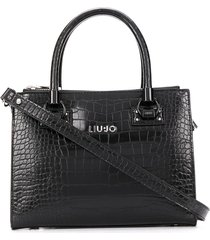 liu jo structured crocodile-effect tote - black
