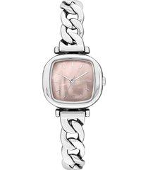reloj analogo moneypenny revolt silver blush komono