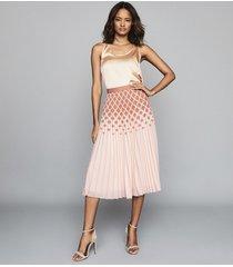 reiss elsa - printed knife-pleat midi skirt in peach, womens, size 12