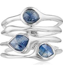 monica vinader siren cluster cocktail ring, size 4.5 in silver/kyanite at nordstrom