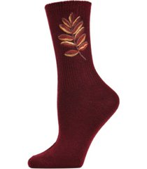 golden leaf vintage-like women's crew socks