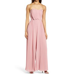 women's adelyn rae strapless chiffon jumpsuit, size x-small - pink