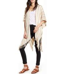 women's treasure & bond stripe open front cardigan, size one size - beige