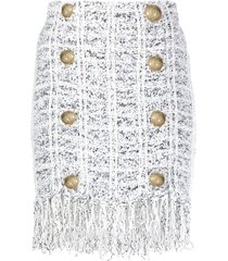 balmain fringe tweed knitted skirt - neutrals