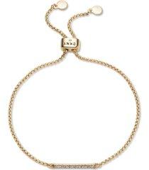 dkny gold-tone pave bar bolo bracelet