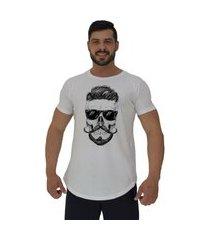 camiseta longline alto conceito caveira de óculos branco