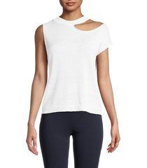 525 america women's cold shoulder top - bleach white - size s