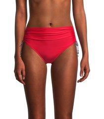 tommy hilfiger women's side-tie high-rise bikini bottom - scarlet - size s