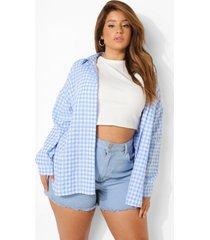 plus oversized gingham blouse met textuur, blue