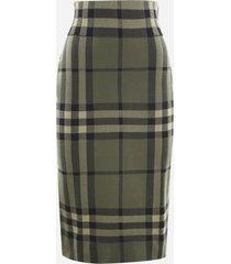 burberry cotton blend pencil skirt with all-over tartan motif