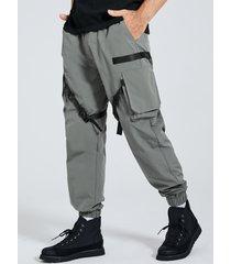 hombre casual ribbon straps hebilla diseño cordón carga pantalones