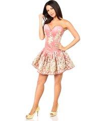 sexy elegant satin coral floral embroidered steel boned short corset dress