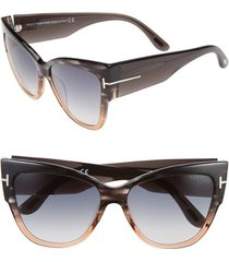 tom ford anoushka 57mm gradient cat eye sunglasses in grey/peach/gradient grey at nordstrom