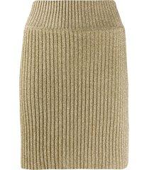alberta ferretti ribbed lurex mini skirt - gold