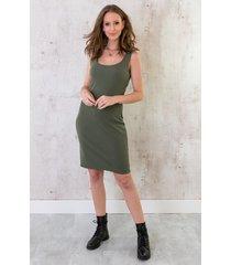stretch jurk dames legergroen