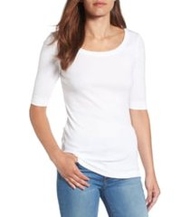 women's caslon ballet neck cotton & modal knit elbow sleeve tee, size large - white