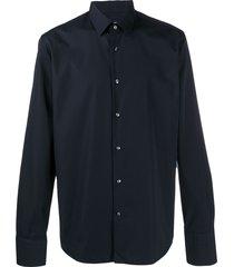 boss hugo boss pointed collar cotton shirt - blue