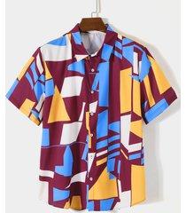 hombres verano casual color block playa holiday camisa