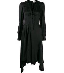 alexander mcqueen pussy-bow asymmetric dress - black