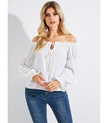 yoins atado blanco diseño fuera del hombro camisa