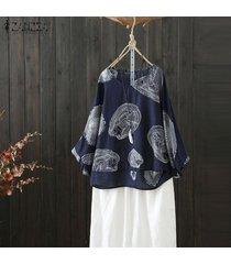 zanzea verano de las mujeres de la manga del batwing floral remata la camisa blusa ocasional floja tee -azul marino