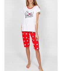 pyjama's / nachthemden admas homewear pyjamabroek t-shirt je maakt me ivoorkleurige adma's