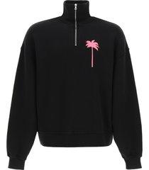palm angels sweatshirt with neon palm tree print