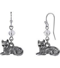 2028 pewter cat wire earrings