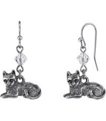 2028 pewter cat wire earrings