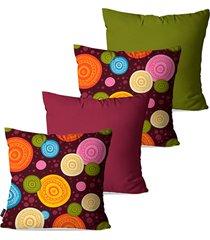 kit pump up com 4 almofadas decorativas roxo amuletos coloridos 45x45cm