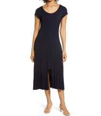 women's connected apparel overlay cap sleeve dress, size large - blue