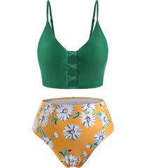 plus size daisy print crisscross tankini swimwear