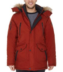 halifax men's big & tall hooded parka with faux fur trim