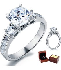 3-stone wedding affordable engagement ring 2 ct lab diamond 925 sterling silver