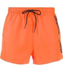 boss printed logo swim shorts - orange