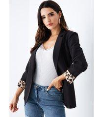 yoins blazer negro con cuello de solapa y patchwork de leopardo al azar