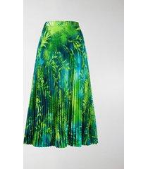 versace jungle print pleated midi skirt