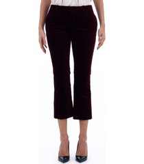 saint laurent velvet burgundy cropped pants