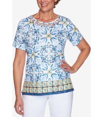 alfred dunner petite lazy daisy lattice-neck top