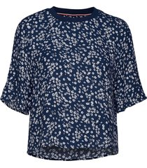 tjw floral shortsleeve blouse blouses short-sleeved blauw tommy jeans