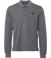 paul and shark grey long sleeve polo shirt a17p1700sf-067