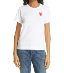 comme des garcons play layered hearts applique t-shirt, size small in white at nordstrom