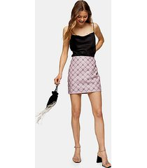 embroidered beaded premium leather mini skirt - lilac