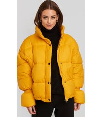 na-kd trend elastic detail puffer jacket - yellow