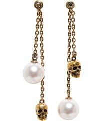 alexander mcqueen pedenti earrings with skull chain