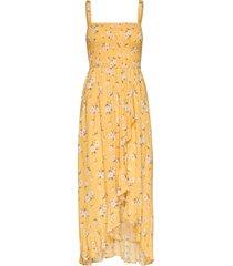 smocked midi dress knälång klänning gul hollister